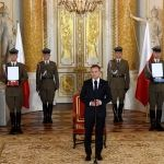 epa04874327 Polish President Andrzej Duda (C) speaks at a ceremony during which he was awarded 'The Order of Polonia Restituta' and 'The Order of the White Eagle' in the Royal Castle in Warsaw, Poland, 06 August 2015. Poland's new president Andrzej Duda was sworn into office on 06 August in a development set to bring about new political challenges for the current government. The ceremony marked the start of the Krakow-born lawyer's term as head of state. He succeeds Bronislaw Komorowski following a result in May that defied pre-election polls.  EPA/RADEK PIETRUSZKA POLAND OUT