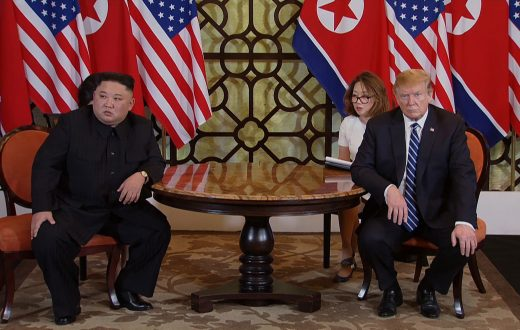 epa07402871 A video grab shows US President Donald J. Trump (R) and North Korean leader Kim Jong-un (L) during the start of their second one on one meeting at the US-North Korea summit in the Sofitel Legend Metropole hotel in Hanoi, Vietnam, 28 February 2019. The second meeting of the US President and the North Korean leader, running from 27 to 28 February 2019, focuses on furthering steps towards achieving peace and complete denuclearization of the Korean peninsula.